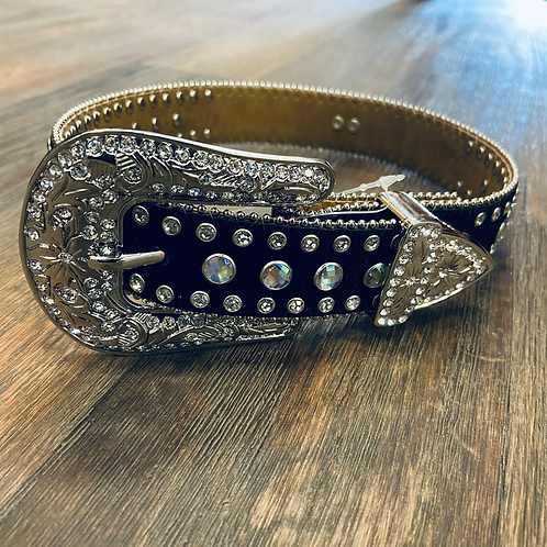 Kid's M&F Velvet Bling Belt - Black