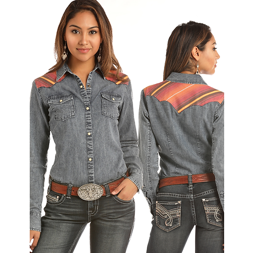 Panhandle Distressed Denim Western Shirt with Serape Yoke