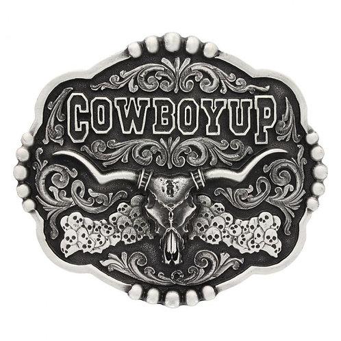 Montana Attitude Cowboy Up Skull Buckle