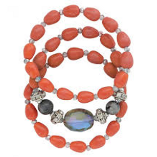 Montana Attitude Jewelry Orange Bead 3 Piece Stretch Bracelet