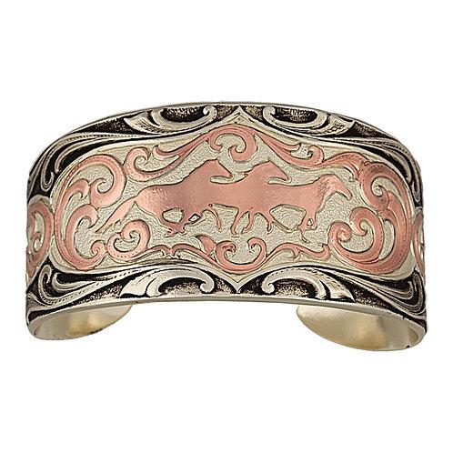 Antiqued Two Tone Copper Horses Cameo Cuff Bracelet