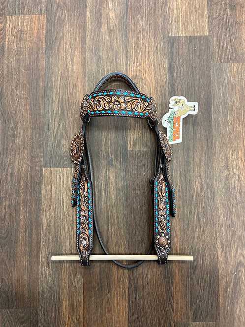 KAT Floral Browband with Turquoise Buckstitch