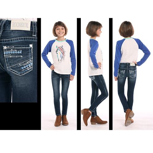 Rock & Roll Denim Baby Blue Arrow Jeans