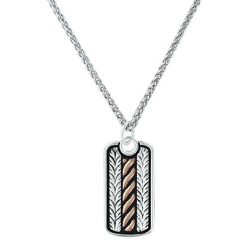 Montana Silversmith Silver & Rose Gold Wheat Dog Tag Necklace