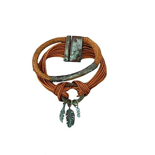 Blazin Roxx Brown Rope Turquoise Feathers Bracelet