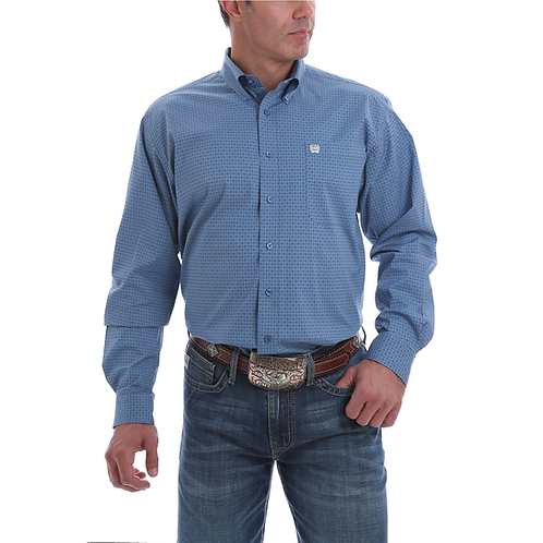 Men's Cinch Royal Blue  Western Shirt with White Squares