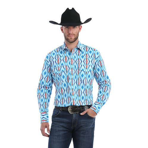 Wrangler Blue & Red Aztec Western Shirt