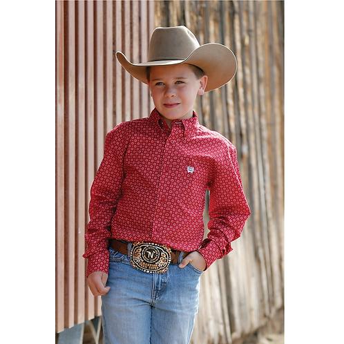 Boy's Cinch Red Diamond Western Shirt