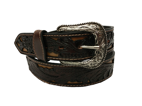 OK Corral Chocolate & Tan Carved Floral Belt