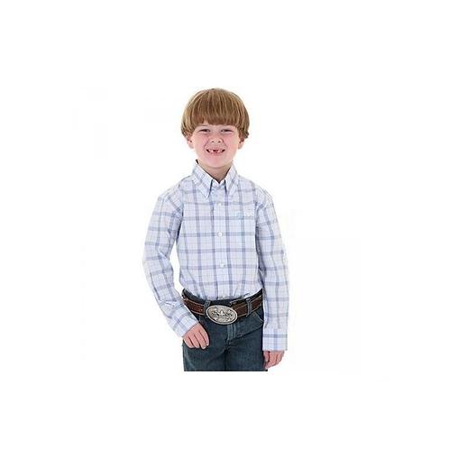 Boys George Strait Plaid Blue/White Western Shirt