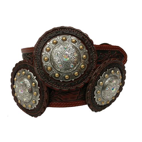 Floral Jumbo Round Concho Fashion Belt