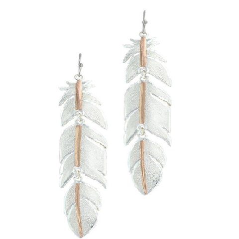 Montana Silversmith 3 piece Rose Gold Vein Feather Earrings