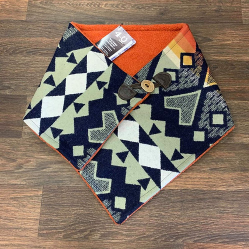 Mint, Navy & Orange Aztec Pendleton Cowl