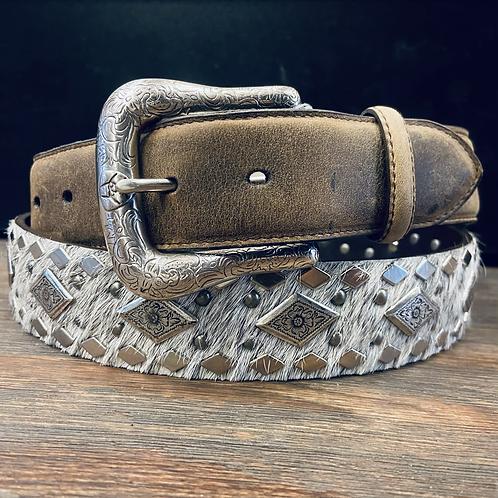Black & White Hair On Belt with Silver Diamonds