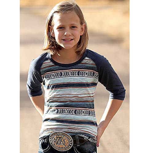 Girl's Cinch Navy Stripe 3/4 Sleeve Top