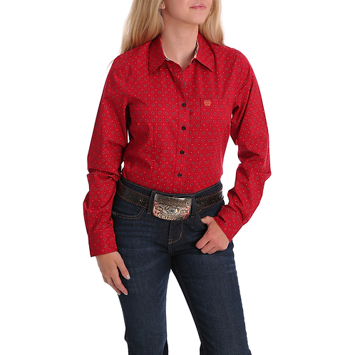 Ladies Cinch Red Western Shirt with Sunflower Print
