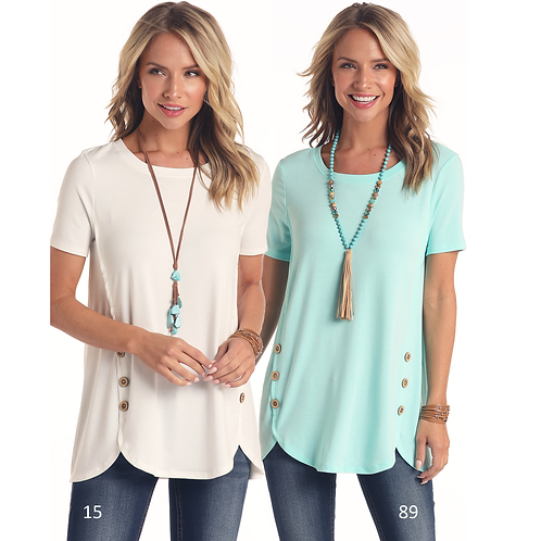 Ladies Panhandle Aqua Tunic Top with Wood Buttons
