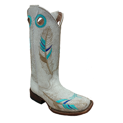 Cavelia White Crackel Boots with Feathers