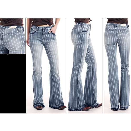 Ladies Rock & Roll Striped Light Wash Trousers
