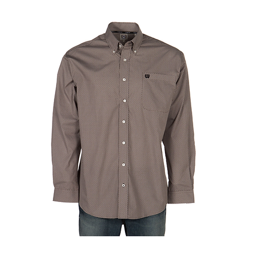 Men's Brown/Black/White Geo PrintCinch Western Shirt