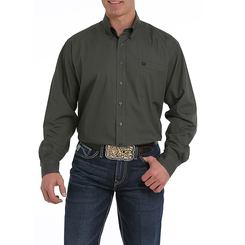 Cinch Olive Basketweave Western Shirt