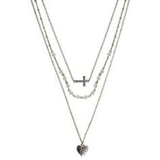 Montana Silversmith 3 Strand Heart/Cross Necklace NC2576