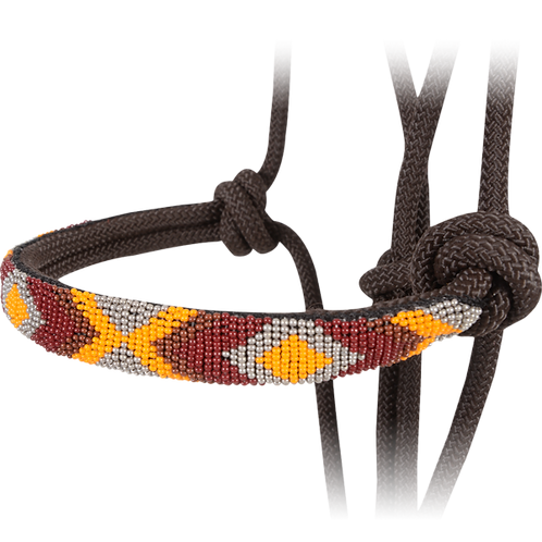 Cashel Beaded Noseband Rope Halter - Chocolate