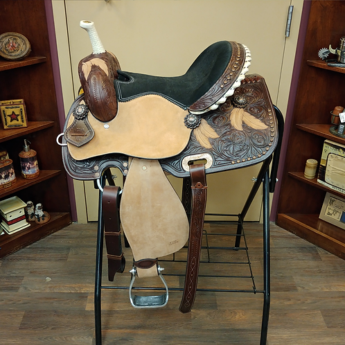 """TN Chocolate Feather & Floral Tooled 14"""" Saddle"""
