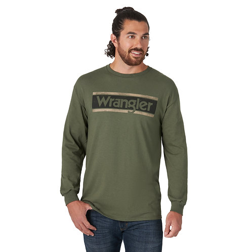 Men's Wrangler Moss Green Signature Long Sleeve Shirt
