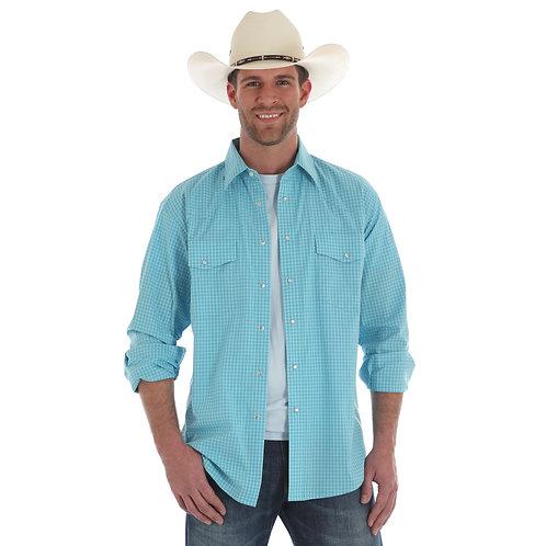 Wrangler Light Blue Wrinkle Resistant Western Shirt