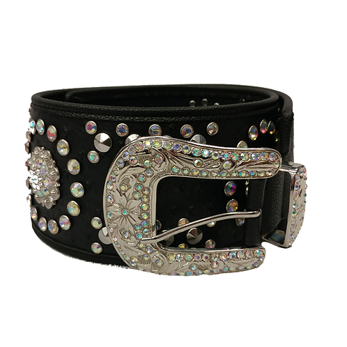 Black Super Bling Wide Fashion Belt