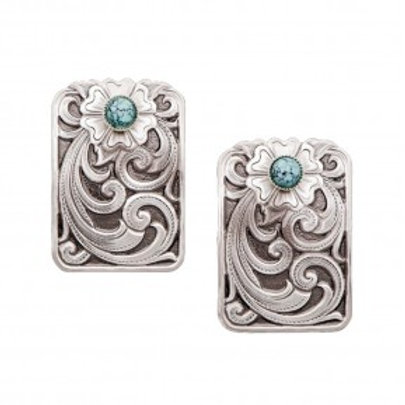 Montana Wildflower in Blue Turquoise Engraved Silver Earrings