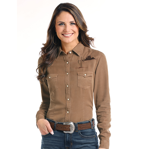 Panhandle Cocoa Cactus Embroidered Western Shirt