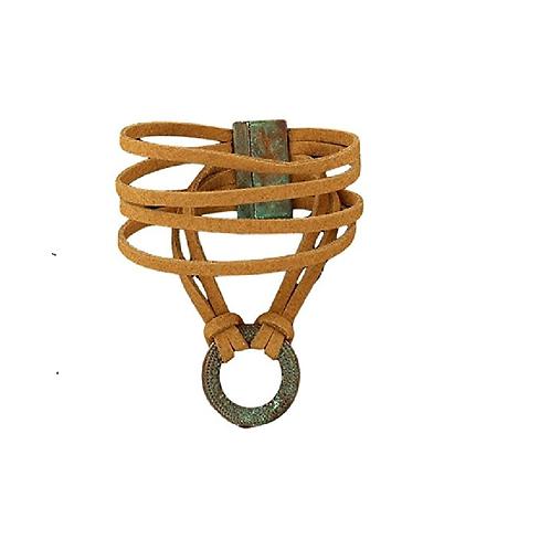 Blazin Roxx Brown Rope Turquoise Ring Bracelet