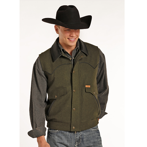 Powder River Outfitters Moss Green Wool Vest