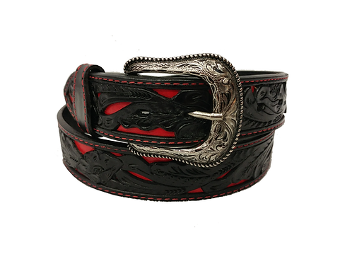 OK Corral Black & Red Carved Floral Belt