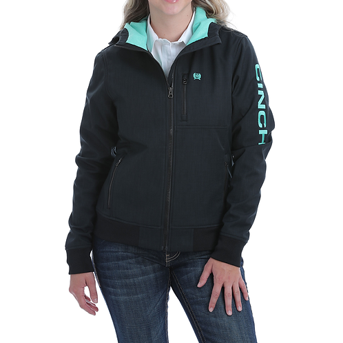 Ladies Cinch Black Jacket with Turquoise Lining