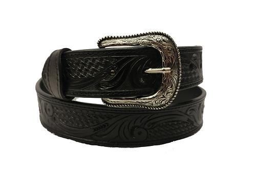 OK Corral Black Tooled Belt