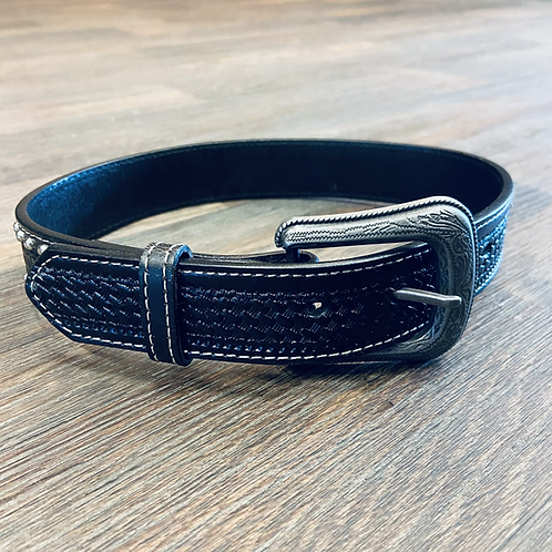 Kid's Studded Basketweave Belt - Black