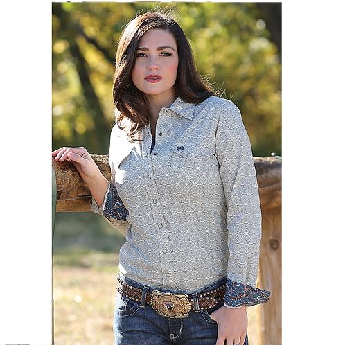 Cinch Cream & Blue Pattern Western Shirt