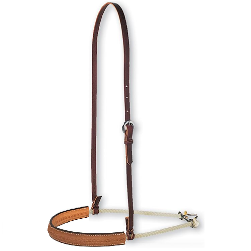 1″ Leather Covered Single Rope Noseband with rope stamp