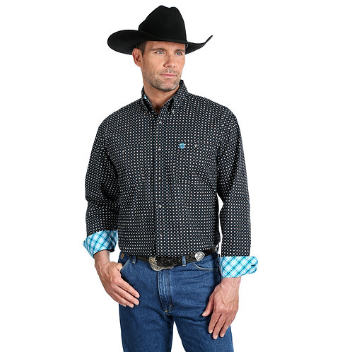 Wrangler Black & Grey Patterned Western Shirt with Blue Plaid Cuffs