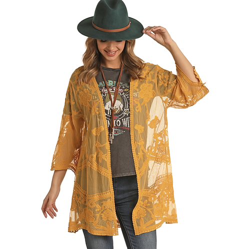 Ladies Panhandle Mustard Lace Cardigan