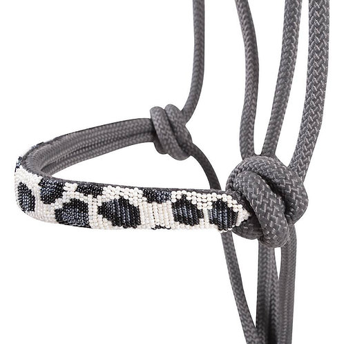 Cashel Beaded Noseband Rope Halter - Grey Cheetah