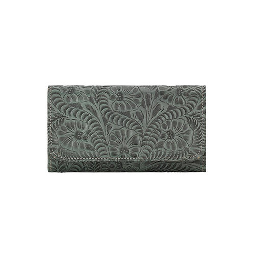 American West Floral Tri Fold Wallet in Turquoise