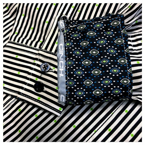 Cinch Black Pinstripe Western Shirt with Lime Polka Dots