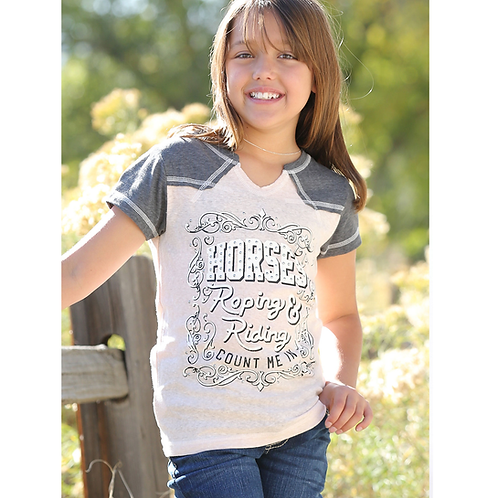 Cinch 'Horses Roping & Riding' Pink & Grey Tee