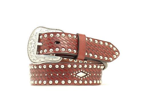 Nocona Chocolate Basket Weave Studded Belt