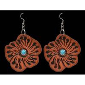 Natural Floral Leather Earrings