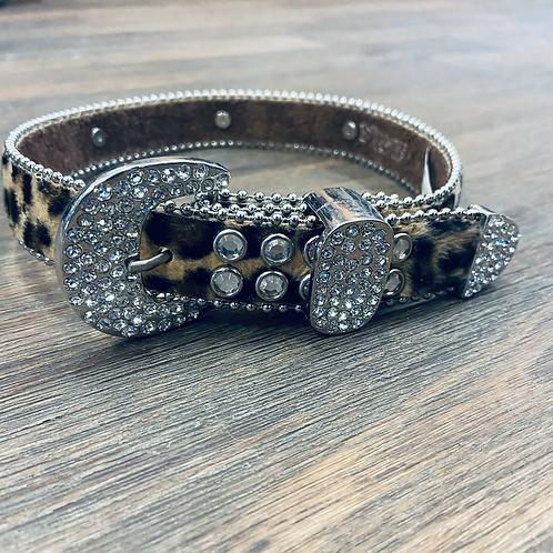 Kid's Leopard Hair On Bling Belt